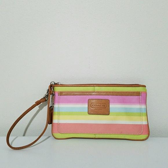 Coach Handbags - Coach Hamptons Multicolor Striped Wristlet